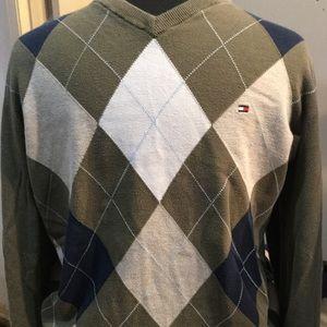 TOMMY HILFIGER szM vneck argyle sweater olive/navy